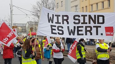 Warnstreik am 17.02.2017 bei Pro Seniore in Cottbus