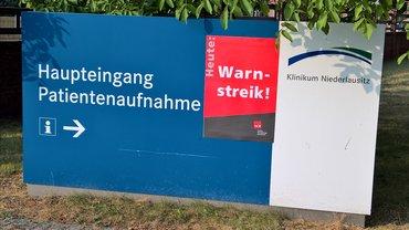 Warnstreik bei der Klinikum Niederlausitz GmbH in Senftenberg und Lauchhammer am 04.06.2018